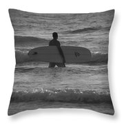 Black And White Surfer Throw Pillow