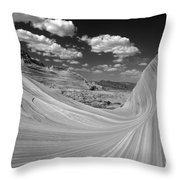 Black And White Swirling Landscape Throw Pillow