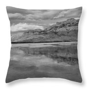 Black And White Talbot Lake Sunset Throw Pillow