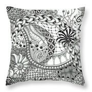 Black And White Tangle Art Throw Pillow
