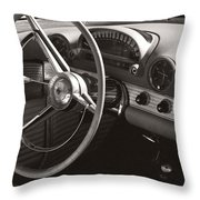 Black And White Thunderbird Steering Wheel And Dash Throw Pillow