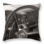 Black And White Thunderbird Steering Wheel  Throw Pillow