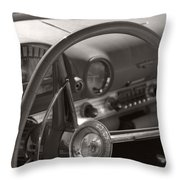 Black And White Thunderbird Steering Wheel  Throw Pillow