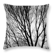 Black And White Tree Branches Silhouette Throw Pillow