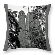 black and white Water Tower Throw Pillow