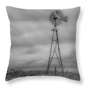 Black And White Windmill Throw Pillow