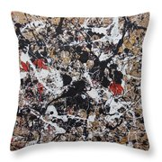 Black And White With Red And Gold Throw Pillow