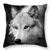 Black And White Wolf Throw Pillow