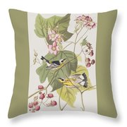 Black And Yellow Warblers Throw Pillow