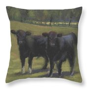 Black Angus Buddies Throw Pillow