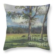 Black Angus Strolling Through The Pasture Throw Pillow