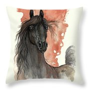 Black Arabian Horse 2013 11 13 Throw Pillow