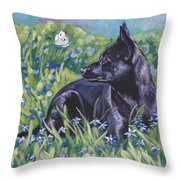 Black Australian Kelpie Throw Pillow by Lee Ann Shepard