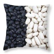 Black Beans And White Beans Throw Pillow