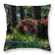 Black Bear - Mother And Baby Throw Pillow