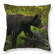 Black Bear-signed-#6549 Throw Pillow