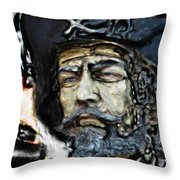 Black Beard Throw Pillow