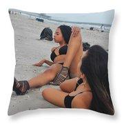 Black Bikinis 10 Throw Pillow