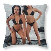 Black Bikinis 4 Throw Pillow