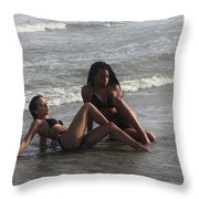 Black Bikinis 48 Throw Pillow