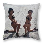 Black Bikinis 8 Throw Pillow