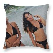 Black Bikinis Throw Pillow
