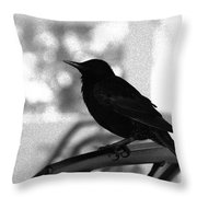 Black Bird Bw Throw Pillow