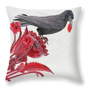 Black Bird Red Silicate Glass Flowers Gray Background 2 8282017  Throw Pillow