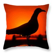 Black Bird Red Sky Throw Pillow