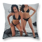 Black Bkinis 3 Throw Pillow