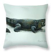 Black Caiman Throw Pillow
