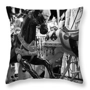 Black Carousel Horse Throw Pillow