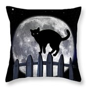 Black Cat And Full Moon 3 Throw Pillow