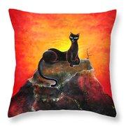Black Cat. Mistress Of Diamond Mountain Throw Pillow