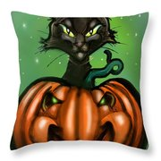 Black Cat N Pumpkin Throw Pillow