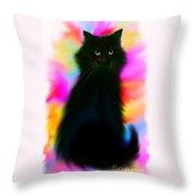 Black Cat Rainbow Sky Throw Pillow
