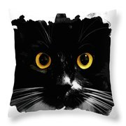 Black Cat, Yellow Eyes Throw Pillow
