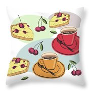 Black Cherry Pie And A Steaming Hot Cup Of Coffee Throw Pillow