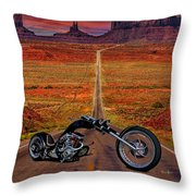 Black Chopper At Monument Valley Throw Pillow