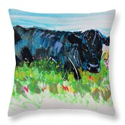 Black Cow Lying Down Painting Throw Pillow