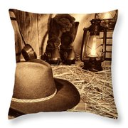 Black Cowboy Hat In An Old Barn Throw Pillow