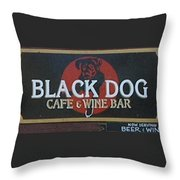 Black Dog Cafe And Wine Bar Throw Pillow