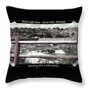 Black Eagle Dam Throw Pillow
