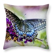 Black Eastern Swallowtail Throw Pillow