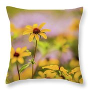 Black Eyed Susan Sunflowers In Field Throw Pillow
