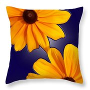 Black-eyed Susans On Blue Throw Pillow