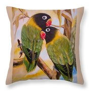 Black Faced Love Birds.  Chloe The Flying Lamb Productions  Throw Pillow