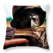 Black Farmer Throw Pillow