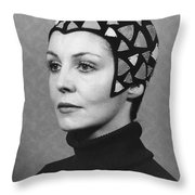 Black Felt Skull Cap Model Throw Pillow