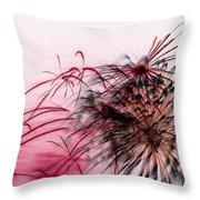 Black Flower With Red Throw Pillow
